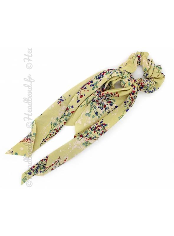 Chouchou long fleuri jaune