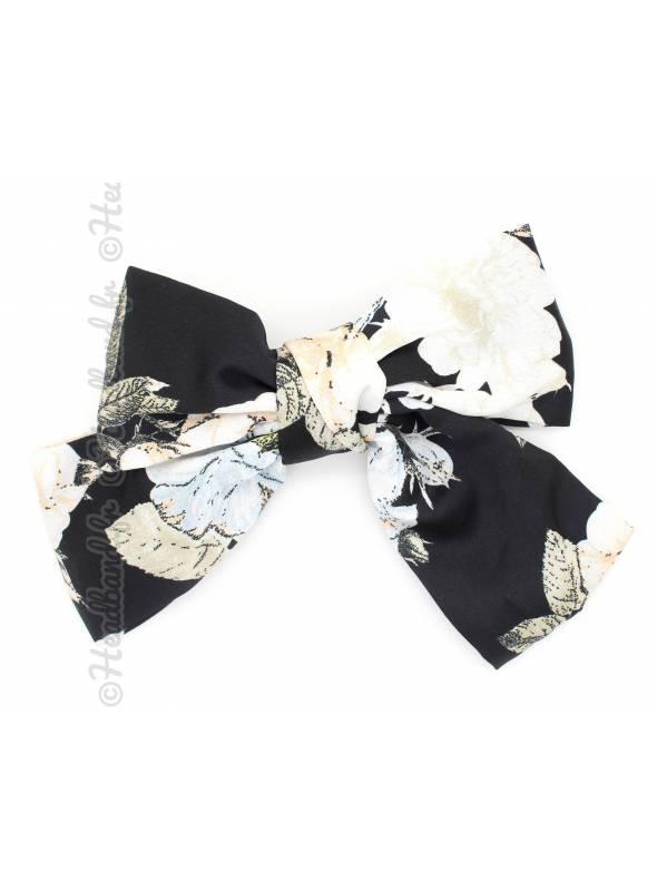 Maxi-pince noeud fleur noir