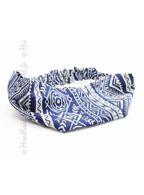 Bandeau fichu motif ethnique bleu