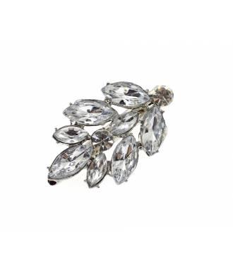 Pince clip cristaux à facettes feuille