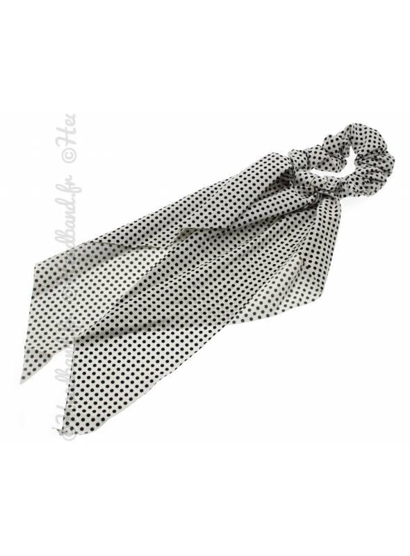 Chouchou long ruban pois blanc
