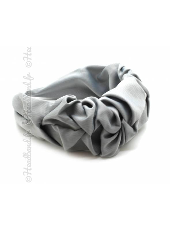 Serre-tête froufrou satin gris