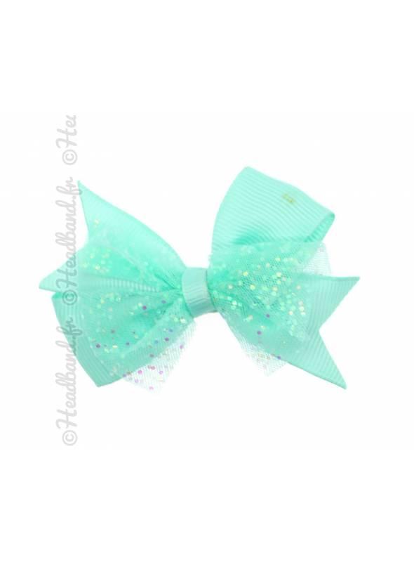 Pince clip noeud paillettes fille vert