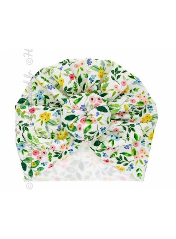 Turban motif imprimé fleuri vert