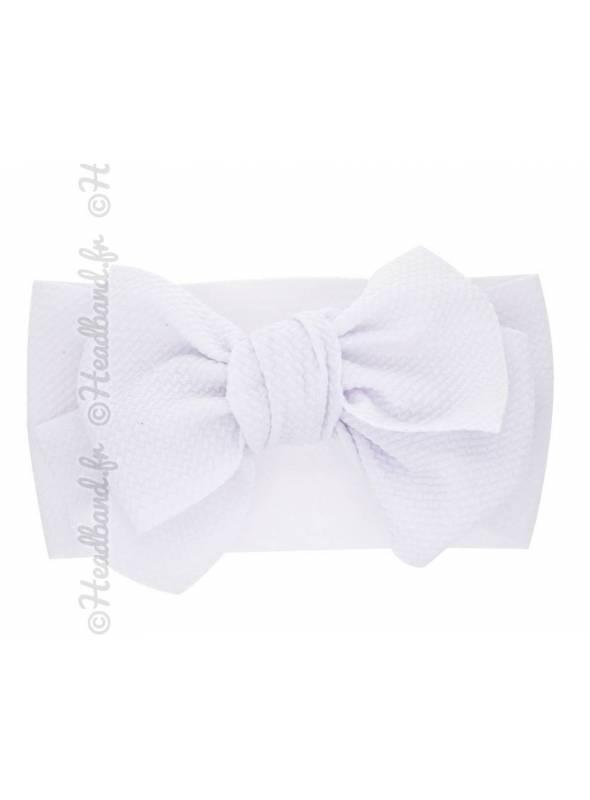Bandeau large noeud uni stretch blanc