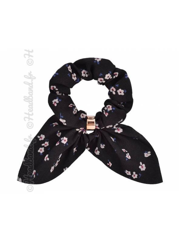 Chouchou petites fleur noir