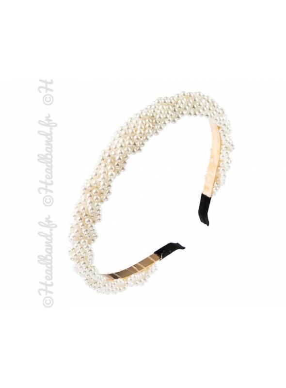 Serre-tête perles ivoire