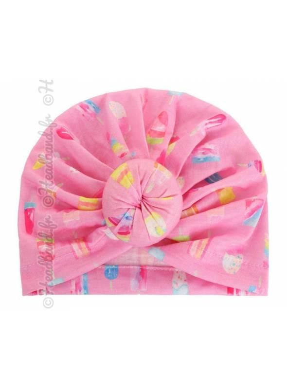 Bandeau turban fille motif glace rose
