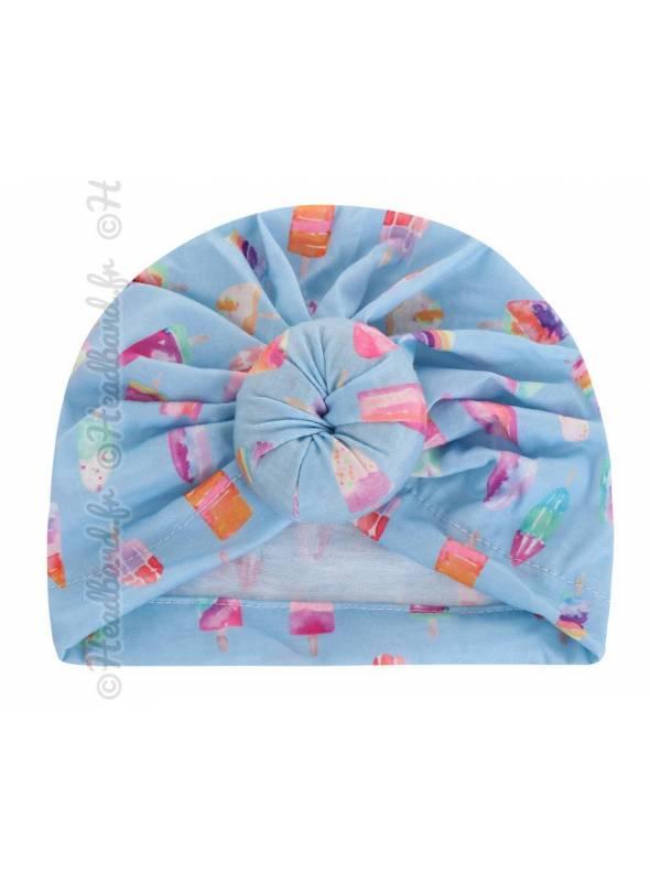 Bandeau turban fille motif glace bleu