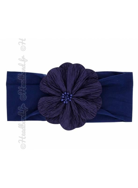 Bandeau fleur tissu bleu marine