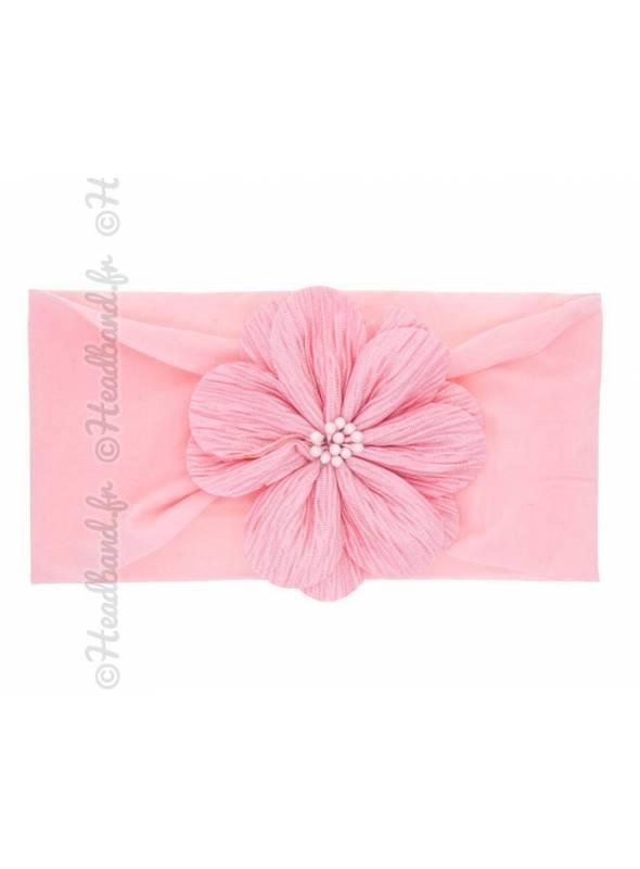 Bandeau fleur tissu rose clair