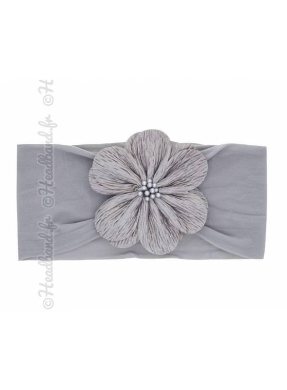 Bandeau fleur tissu gris