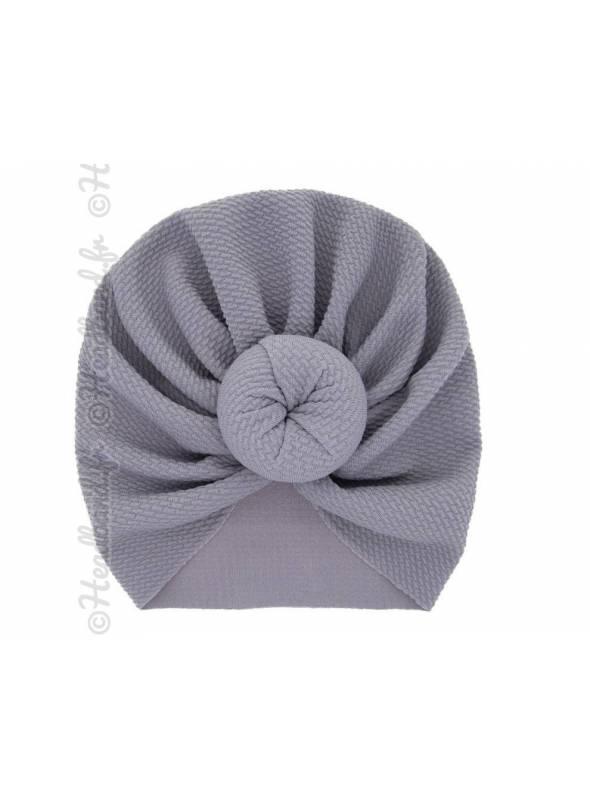 Turban fille boule tissu stretch gris