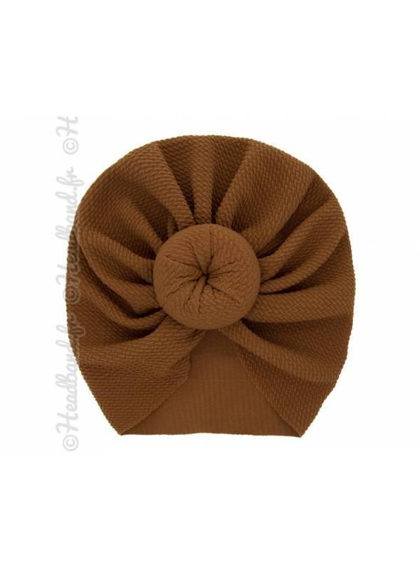 Turban fille boule tissu stretch marron
