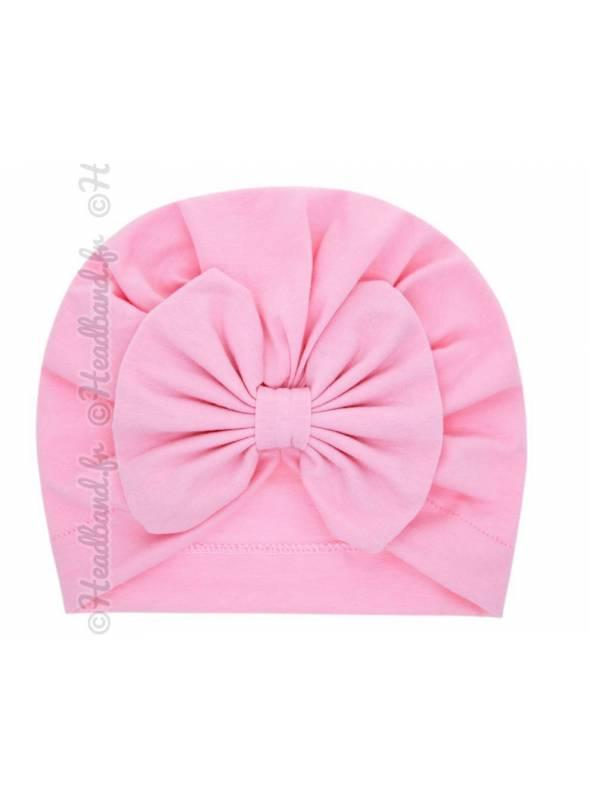 Turban intégral fille noeud rose pâle
