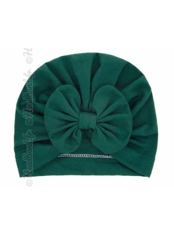 Turban intégral fille noeud vert
