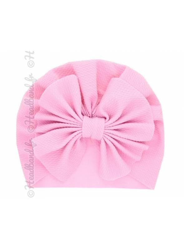 Turban bonnet rose enfant noeud