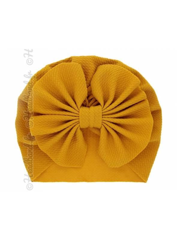 Turban bonnet jaune enfant noeud