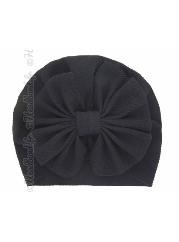Turban bonnet noir enfant noeud