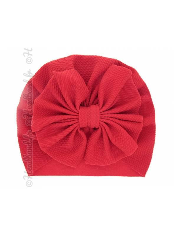 Turban bonnet rouge enfant noeud