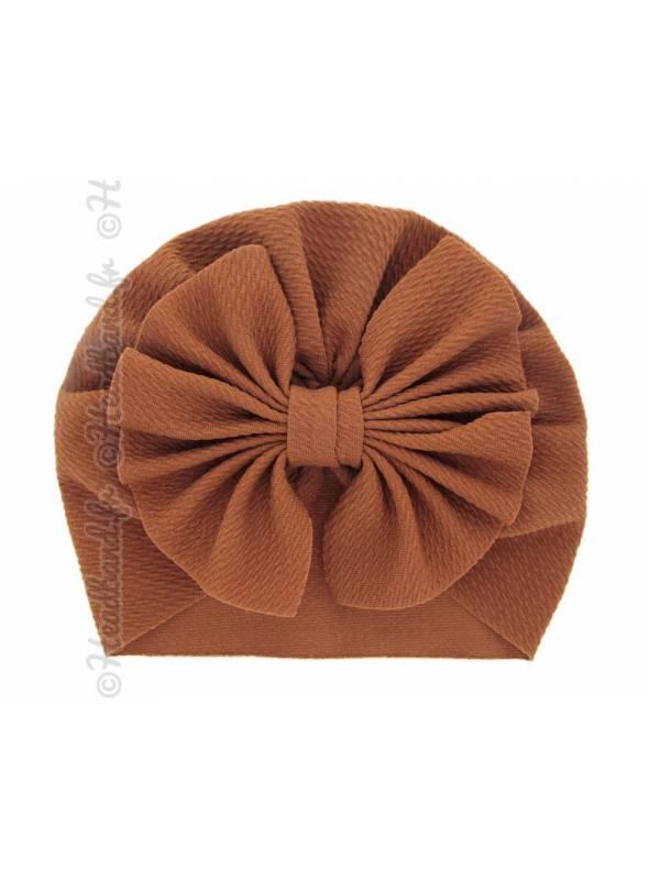 Turban bonnet marron enfant noeud