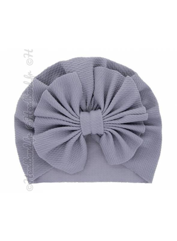 Turban bonnet gris enfant noeud