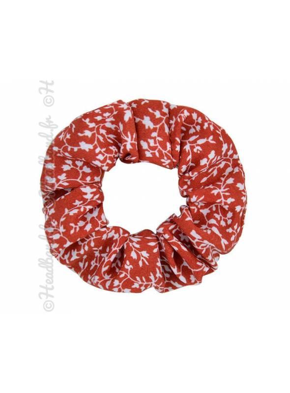 Chouchou motif feuillage rouge