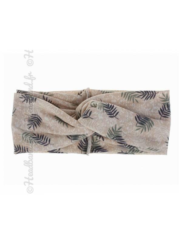 Bandeau stretch large feuilles beige
