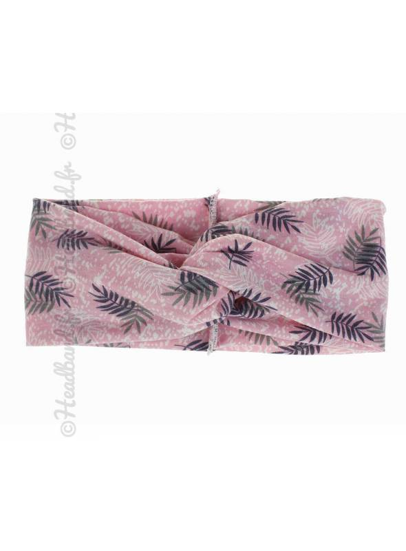 Bandeau stretch large feuilles rose