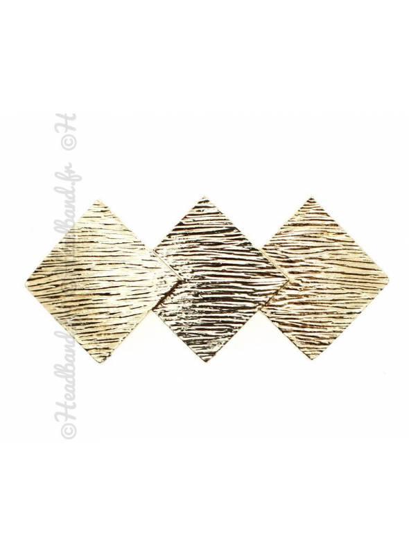 Pince métal trio carrés dorée