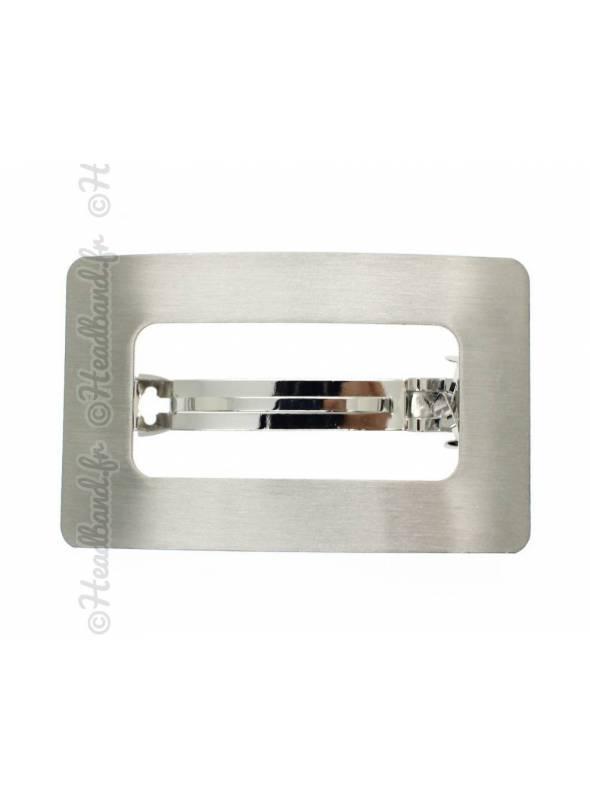 Pince rectangle métal ajouré argenté
