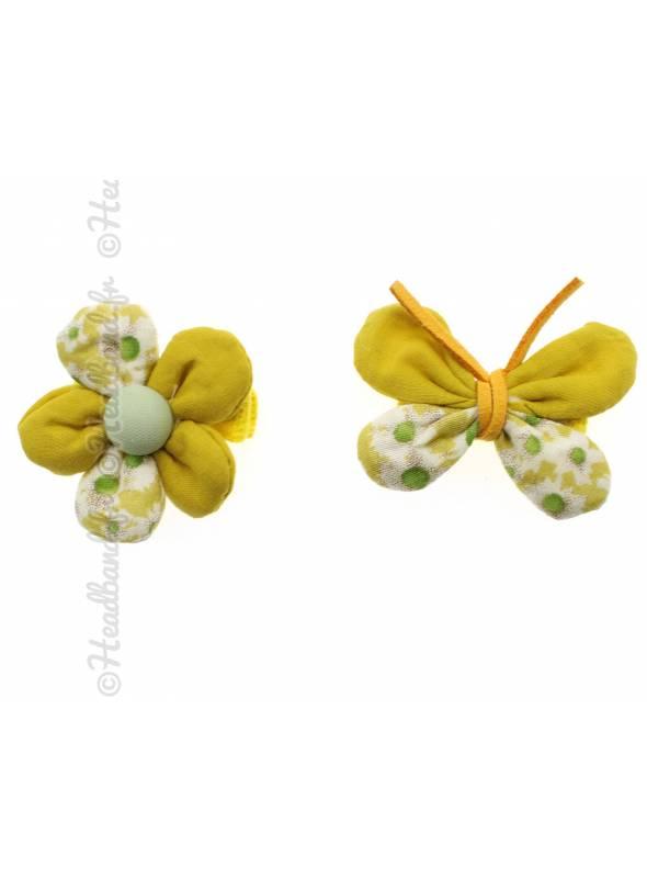 Lot de 2 pinces papillon et fleur jaune