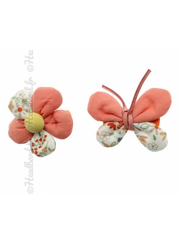 Lot de 2 pinces papillon et fleur corail