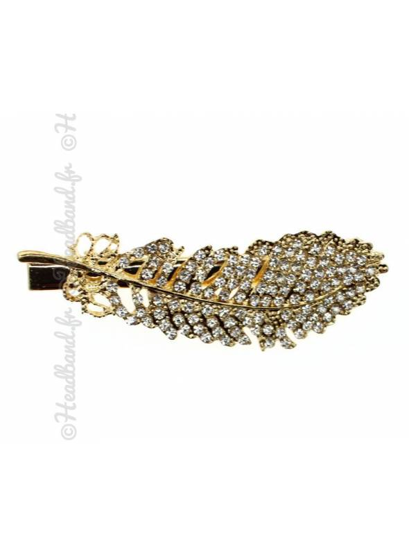 Pince plume cristaux dorée