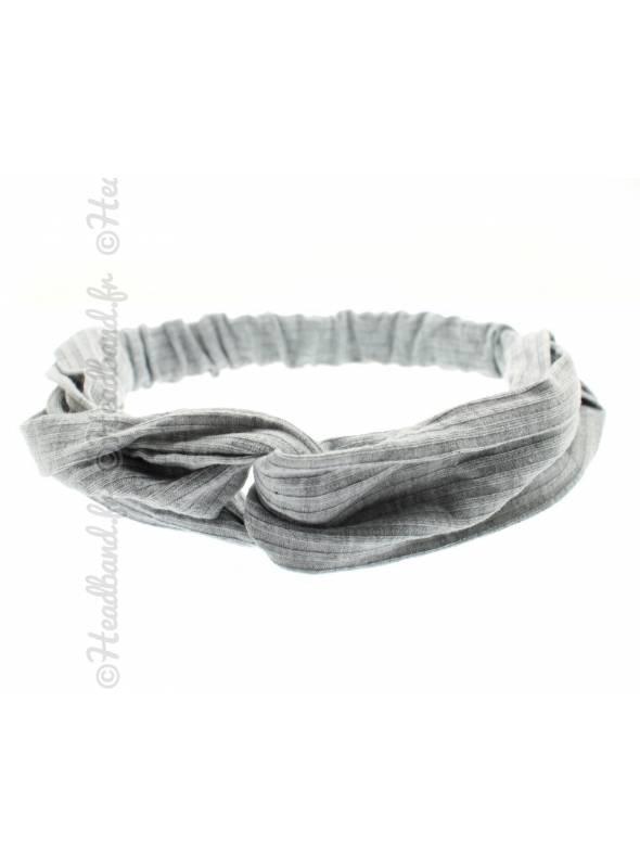 Turban cheveux stretch côtelé gris clair