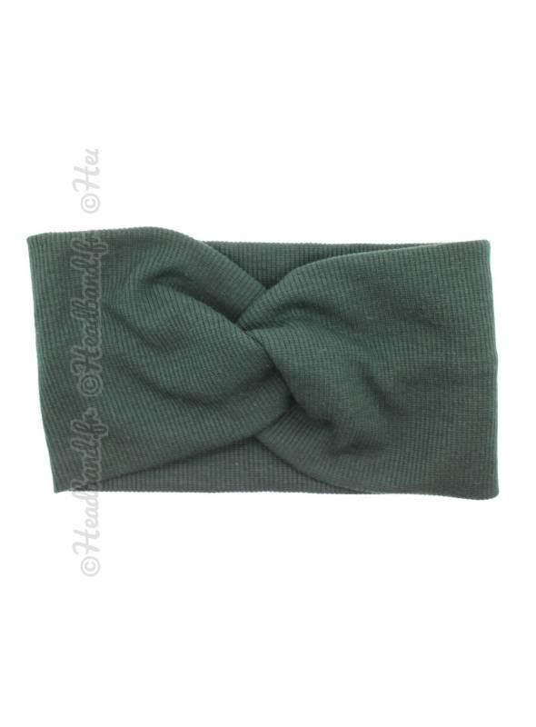 Turban croisé maille côtelée vert