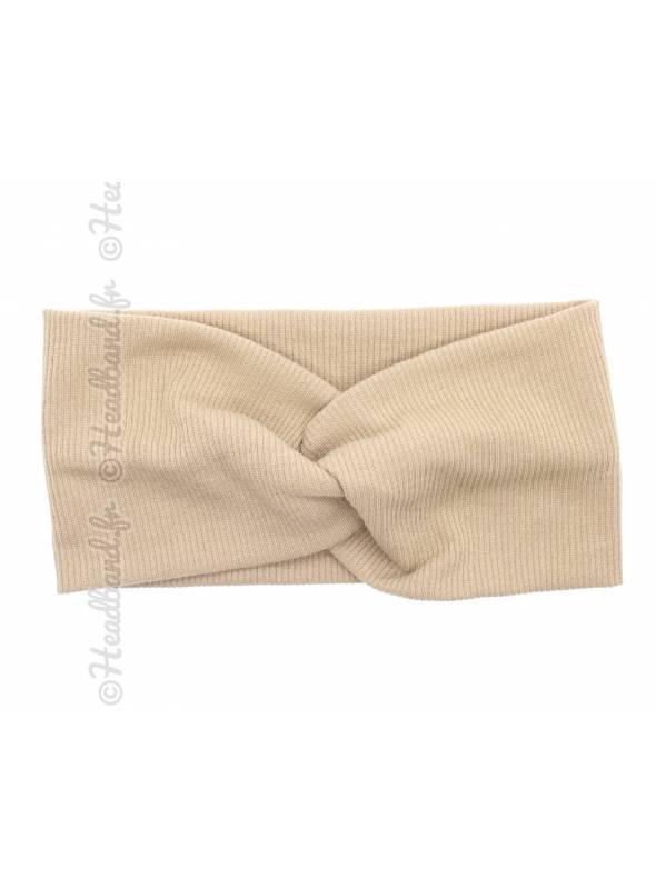Turban croisé maille côtelée beige