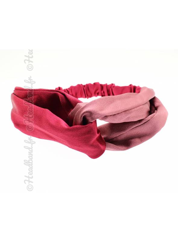 Bandeau bicolore satin rouge