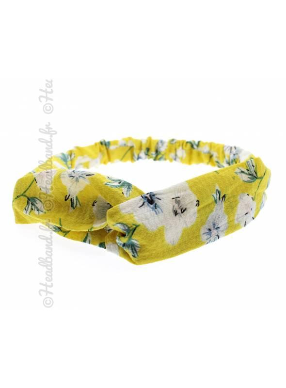 Bandeau mousseline fleurs jaune