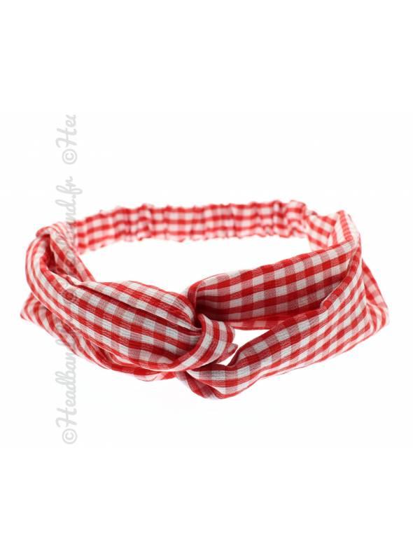 Turban croisé vichy rouge et blanc