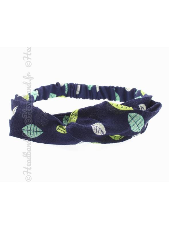 Bandeau turban feuilles marine