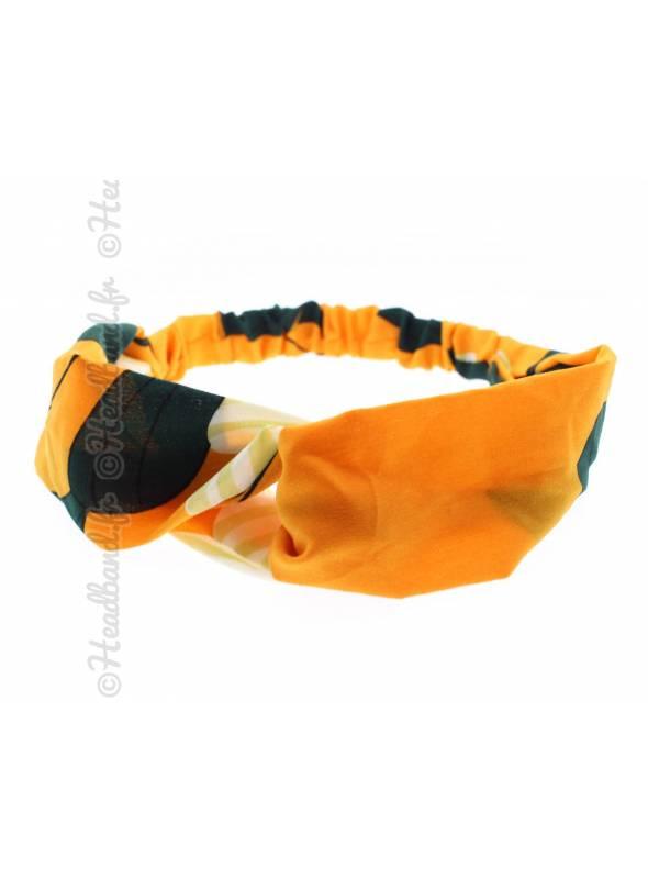 Bandeau tissu grosse fleur orange