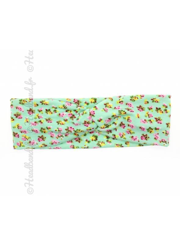 Bandeau stretch petites fleurs vert