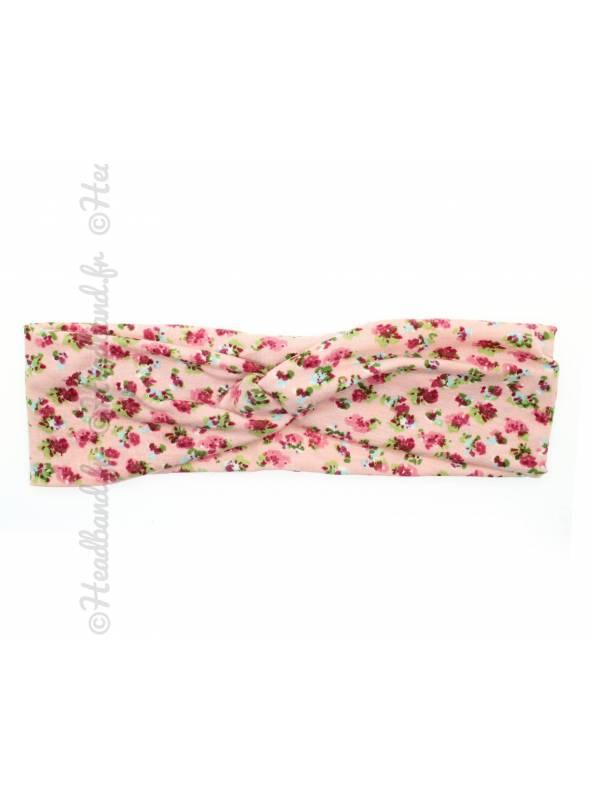 Bandeau stretch petites fleurs rose