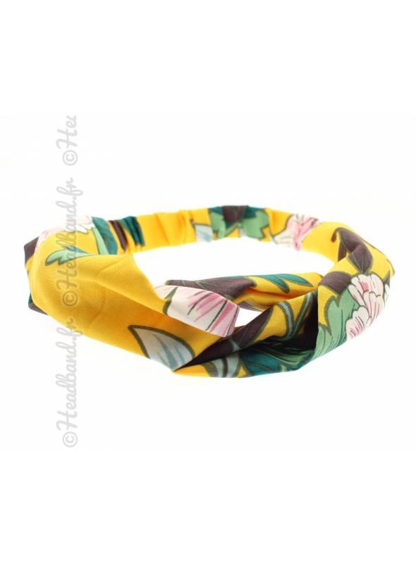 Bandeau tissu grosse fleur jaune