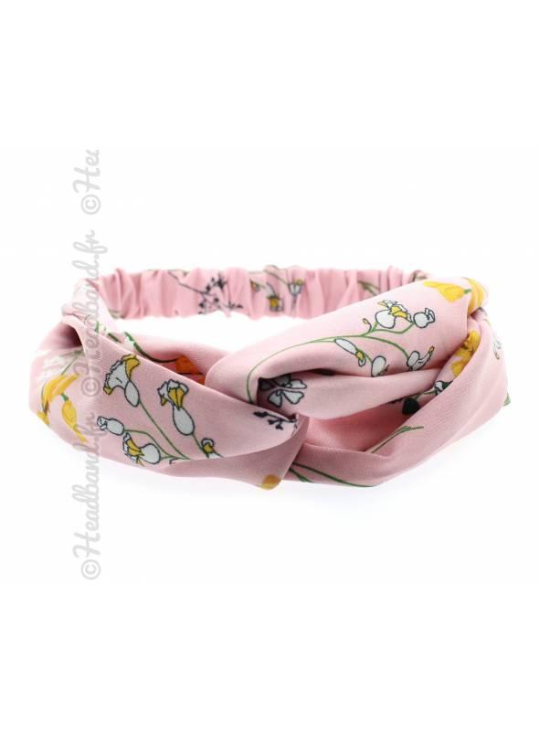 Bandeau stretch tissu fleurs rose