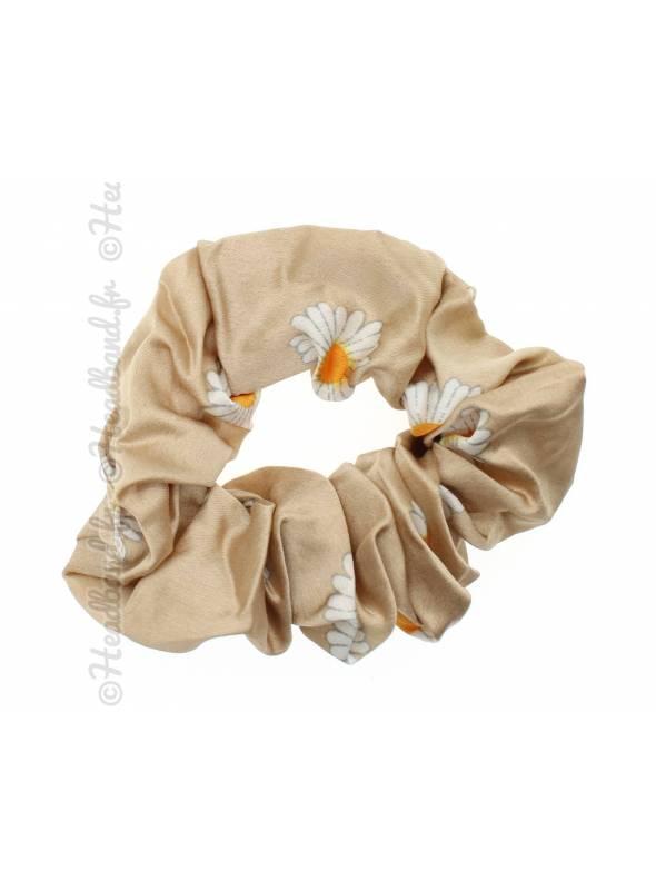 Chouchou large fleuri beige