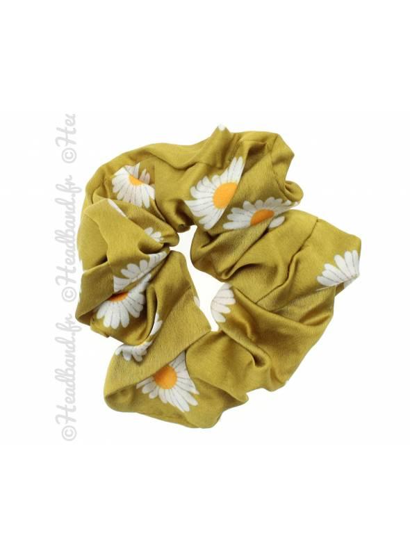 Chouchou large fleurs jaune