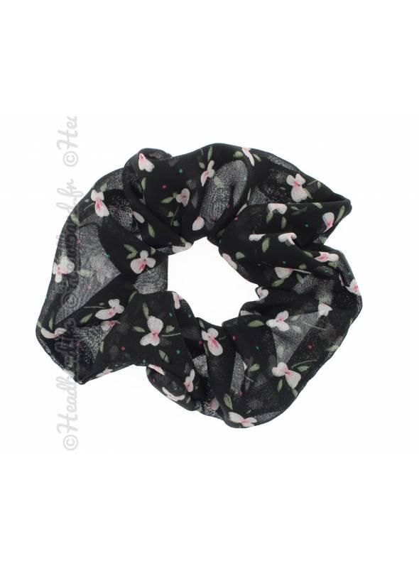 Chouchou mousseline fleuri noir