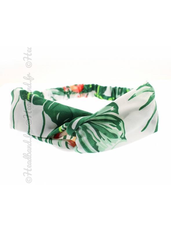 Bandeau feuille palmier vert et blanc